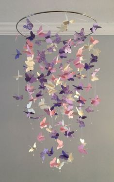 Butterfly Chandelier Mobile, in purple and pink-mostly solid butterflies girl room mobile,nursery mobile,baby girl mobile,baby mobile - Kinderzimmer Dekoration Butterfly Bedroom, Butterfly Mobile, Flower Mobile, Butterfly Baby Shower, Baby Bedroom, Nursery Room, Kids Bedroom, Nursery Decor, Bedroom Decor