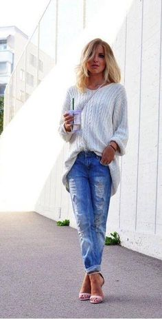 Big Knit Sweater. Boyfriend Ripped Jeans & Cute Open Toe Heels.