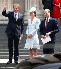 June 10, 2016 The Duke & Duchess of Cambridge with Prince Harry at The National Service of Thanksgiving