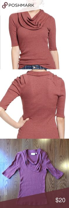 Anthropologie Deletta red stripped cowl neck top Anthropologie Deletta red stripped cowl neck top. Anthropologie Tops Blouses