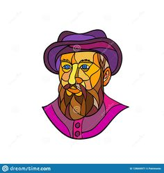 Old Portuguese Explorer Mosaic Color by patrimonio on Mosaic low polygon style illustration of an old Spanish or Portuguese explorer or naval officer, Ferdinand Magellan wearing a hat and beard on isolated white background in black and white.
