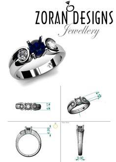 553dfa4144e314 Custom design for a unique, modern engagement ring with diamonds and blue  sapphire. Zoran