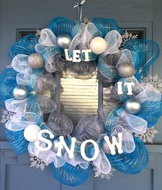 Let It Snow Christmas Wreath by KrafQueen on Etsy
