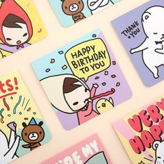 PONYBROWN Cartoon message card by PONYBROWN. The Cartoon message card is so cute and adorable card and envelope set. Birthday Thank You, Happy Birthday, Cute School Supplies, Message Card, Character Drawing, Cute Illustration, Cool Cards, Pony, Messages