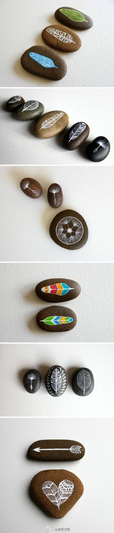 "These were created by an artist from another country, but when I saw them, I immediately thought of the insane amount of ""souvenirs"" our children have collected on trips...and these painted stones made me think how fun it would be for everyone to collect a found stone from each trip we take, paint a design, just write a few words that describe the trip, or a simple date, whatever each person wants, & start a collection...from every trip. Display them in a glass apothecary jar in the family…"