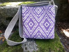 Crossbody Bag Hip Bag Purple Ikat Fabric by BirdOnAWireBags, $30.00