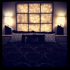 Lighted headboard perfect for a romantic night! Diy Headboard With Lights, Light Headboard, Headboard Ideas, Headboards, Home Projects, Home Crafts, Diy Crafts, Home Bedroom, Bedroom Decor