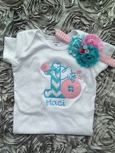 Cute as a button birthday shirt : aqua and pink chevron 1st birthday outfit - personalized button birthday shirt on Etsy, $21.50