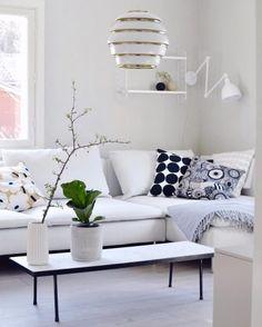 arched windows and white washed walls = winning combo Ikea Stocksund, Space Interiors, Arched Windows, Ikea Furniture, Marimekko, Fashion Room, Sofa Covers, Eames, Slipcovers