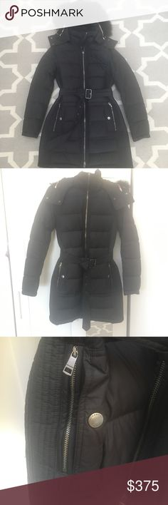 Burberry Limefield Belted Down Puffer Coat I have loved this Burberry Brit puffer coat, which kept me warm & stylish during New York City winters! It has a detachable fur-trimmed hood (real dyed blue fox fur), and both zippered and buttoned pockets for hands, as shown, perfect for stashing your gloves. The zipper pull broke off recently, but the zipper itself is still intact, so you could have it replaced or leave as is. Fabric/lining is polyester, sleeve lining is nylon, filling is 85%…
