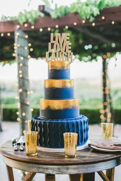 Gold and Blue Fondant Wedding Cake | Enchanted Weddings | Milou + Olin…