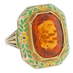 Art Deco Citrine Enamel Gold Ring by claudfenix