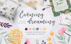 Evening Dreaming Patterns are hand drawn & digital painting floral collection. This fancy set in calm colors brings a romantic and slightly nostalgic mood to your design. Free Design, Your Design, Fabric Design, Pattern Design, Fall Bouquets, Soft Autumn, Graphic Patterns, Graphic Illustration, Graphic Art