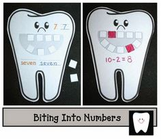 Incorporate math skills with your dental hygiene unit. Print the large tooth posters on white construction paper and then laminate. Health Unit, Kids Health, Children Health, Activity Centers, Math Centers, Math Stations, Home Design, Dental Games, Hygiene Lessons