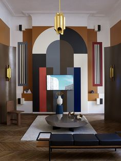 Modern take of art deco design. Same shapes and layering that happens in art deco with more colors and abstractness. Salon Art Deco, Casa Art Deco, Arte Art Deco, Estilo Art Deco, Art Deco Wall Art, Art Deco Decor, French Interior Design, Interior Design Minimalist, Modern House Design