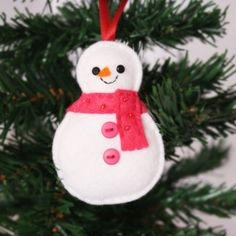 Snowman Felt Christmas Tree Ornament with Pink by hannahdoodle, $10.00