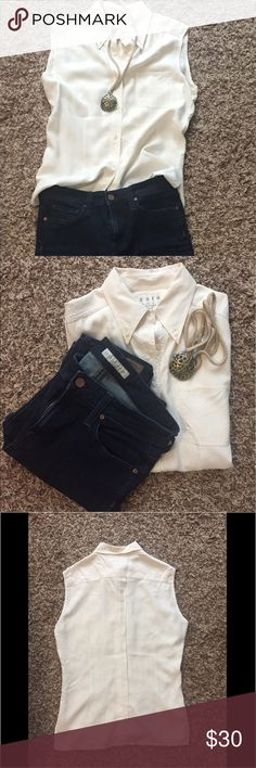 Zara 100% silk button down tank Beautiful silk top. Great closet staple. Excellent condition Zara Tops Button Down Shirts