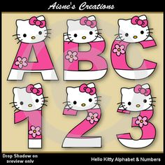 Hello Kitty Alphabet Letters & Numbers Clip Art