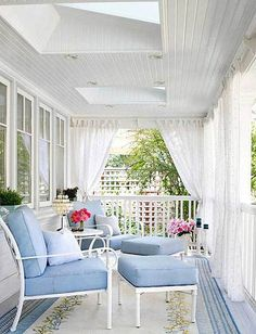 Pretty blue and white porch (1) From: Indulgy, please visit