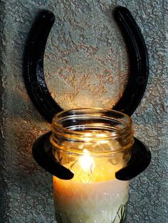 Horseshoe Candle Sconce with Frangenced by DesertKnightCreation #HorseshoeArt