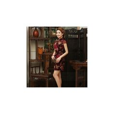 Cap-Sleeve Velvet Cheongsam ($69) ❤ liked on Polyvore featuring dresses and women