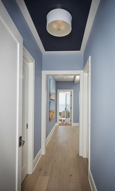 """Ceiling inset paint color is """"Benjamin Moore 1629 Bachelor Blue"""". Wall color appears to be """"Benjamin Moore 1627 Manor Blue""""."""