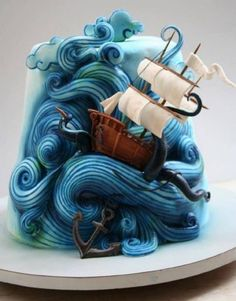 Sailboat cake ..this is so cool! Great idea for a pirate or mermaid party!
