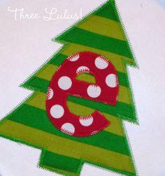 Applique Christmas Shirt Personalized Boy or Girl by threelulus, $22.00