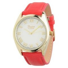 Geneva Platinum Women's Faux Leather Round Face Watch - Red