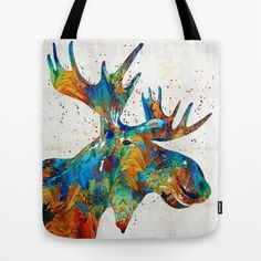 Colorful Moose Art - Confetti - By Sharon Cummings