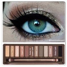 Another pinner wrote: Naked Palette Eye Makeup Tutorial.I have this and I use it Everyday, money well spent. If your going to buy some new makeup this is the palette to get. Has Emmy Lou Cosmetics approval Eye Makeup, Kiss Makeup, Makeup Geek, Hair Makeup, Gold Makeup, Makeup Contouring, Neutral Makeup, Makeup Dupes, All Things Beauty