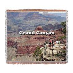 Grand Canyon South Rim 4 (caption) Woven Blanket on CafePress.com