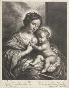 Cornelis van Dalen (II) | Maria met het Kind aan de borst, Cornelis van Dalen (II), Abraham Bloteling, A. Syen., 1648 - 1664 | Maria met het Christuskind aan de borst. In ondermarge Latijns vers van A. Syen.