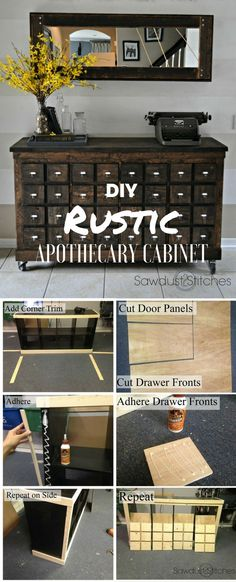 ^^^OILS- Check out the tutorial: DIY Rustic Apothecary Cabinet @istandarddesign