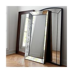 Inspired by a vintage picture frame spied in a San Miguel de Allende boutique, this rustic freestanding floor mirror leans against the wall, making a romantic statement in the living room or grand foyer. Antique Floor Mirror, Oversized Floor Mirror, Leaning Floor Mirror, Floor Standing Mirror, Over The Door Mirror, Mirror With Shelf, Entryway Mirror, Door Mirrors, Mirror Restoration