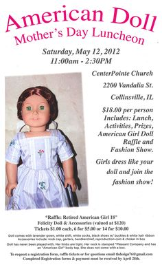 Moms, Girls, and Dolls... come out for a fabulous fashion show and luncheon on May 12, 2012! You could win a retired Felicity doll! (Proceeds support the local non-profit CenterPointe Church children's program.)