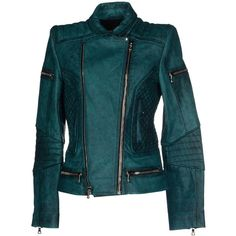 Balmain Jacket ($2,610) ❤ liked on Polyvore featuring outerwear, jackets, deep jade, single breasted jacket, blue leather jacket, blue zipper jacket, 100 leather jacket and zipper jacket