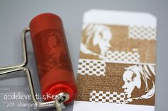 How to get a reverse image of a rubber stamp - use a brayer!