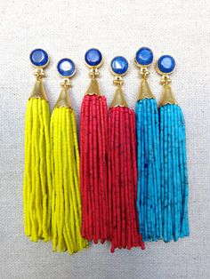 Lapis Stud Beaded Tassel Earrings