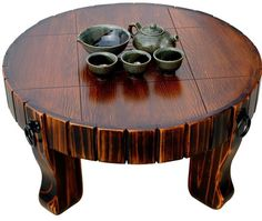 Tea Table Round Old Oriental Antique Style, Low table, great way you begin Traditional tea drinking