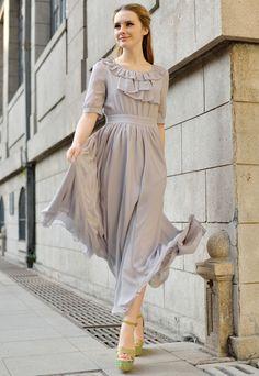 Light Purple Half Sleeve Ruffle Chiffon Dress - Sheinside.com
