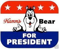 Image of Hamm's Beer art print - Bear For President Vintage Food Posters, Vintage Ads, Retro Ads, Hamms Beer, Old Beer Cans, Cool Coasters, Empty Wine Bottles, White Bear Lake, Beer Art