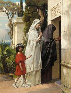 "Gustav Daniel Budkowski, (Latvia,1813-1884),  ""Figures entering a classical tomb"" | by sofi01"
