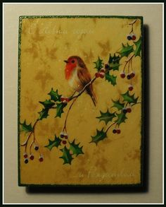 """""""Christmas Robin"""".  Home Décor magnet from my «Magnetic Force» collection. Made to order."""