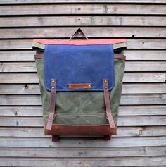 Waxed canvas backpack / rucksack with folded top by treesizeverse, $209.00