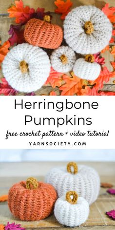 This free pumpkin crochet pattern is made from a flat panel full of beautiful herringbone stitches assembled into the prettiest pumpkin. It makes the perfect fall decor piece for your home. Crochet Pumpkin, Crochet Fall, Crochet Cross, Crochet Home, Free Crochet, Holiday Crochet, Easy Crochet, Crochet Blanket Patterns, Crochet Afghans