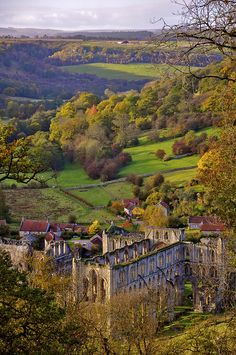 Rievaulx Abbey from the Terrace, North Yorkshire, England.
