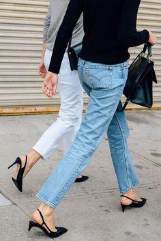 Blue and white denim, long-sleeved shirts, and black slingbacks