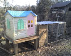 Chicken coup. This is such a fun idea. What a great second use for a playhouse the kids have grown out of!