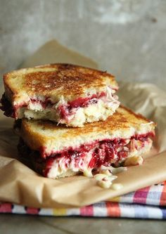 Roasted turkey, cranberry and brie grilled cheese.